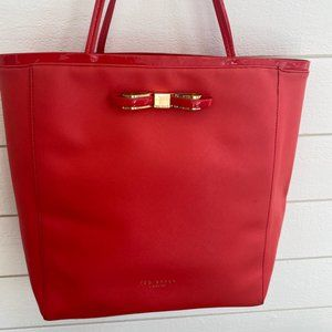 Ted Baker Red Saffiano Leather Icon Tote